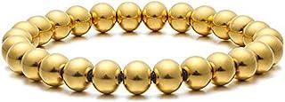 Jovivi Mens Womens Stainless Steel 8mm Black Gold Round Ball Beads Beaded Elastic Bracelet