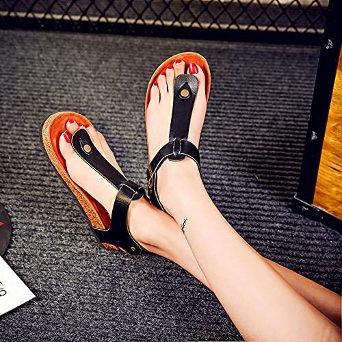 COQUI Zapatillas casa Mujer,Zapatillas Mujer Verano Zapatos de Mujer Zapatos Adhesivos Zapatos Adhesivos Planos con sandwear Suave Pareja de Madera Sandalias-Negro_40