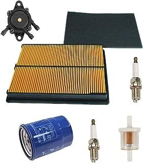 Euros Air Filter with Pre Filter + Oil Filter + Fuel Filter + 2Pcs Spark Plug + 16700-Z0J-003 Fuel Pump Replace For Honda GX610 GX620 GX670 17210-ZJ1-842 17210-ZJ1-841 17218-ZJ1-840 20HP V-TWIN Engine