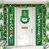 PIXHOTUL St. Patrick's Day Bannière Décorations, Signe du Porche de la Saint-Patrick Irish Party Shamrock Welcome Hanging Sign pour l'ornement intérieur extérieur de la Maison (A)
