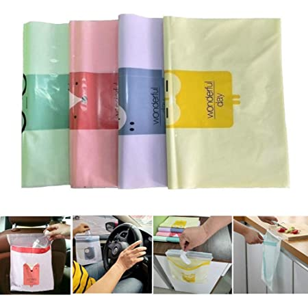 Study Room Kitchen 3 Colors 45 Pieces Car Trash Bags Leakproof Garbage Bags Self-Adhesive Car Rubbish Storage Bags Cartoon Car Vomit Bags Portable Waste Container Bags for Vehicle Office