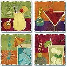 4 Set Coconut Summer Girls Holiday Gift #15537 Pina Colada Cocktail Coaster