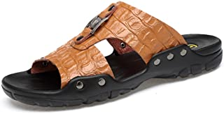 Men's Slippers New Superficial Breathable Soft Can Anti - Skid Cow Leather Large Size Beach Sandals Go to work (Color : Brown, Size : 50 EU)