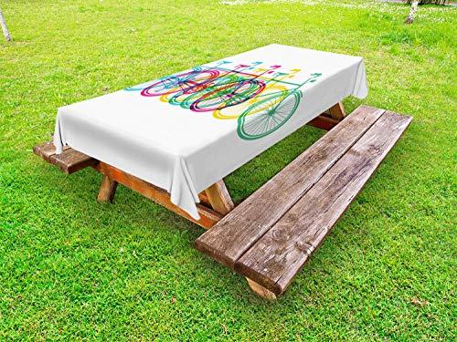 ABAKUHAUS Kleurrijk Tafelkleed voor Buitengebruik, Retro fiets silhouetten, Decoratief Wasbaar Tafelkleed voor Picknicktafel, 58 x 120 cm, Veelkleurig
