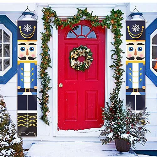Achort Cascanueces decoraciones navideñas, 2 piezas para decoración de Navidad al aire libre para colgar...