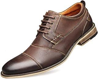 حذاء كاجوال رجالي من جلد أكسفورد - حفلات زفاف رسمية - حذاء بنعل خشبي جلد البقر