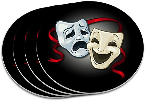 Drama Comedy Tragedy Masks Theater Coaster Set