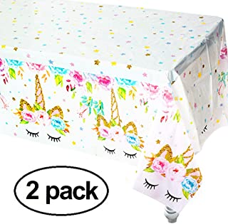 Unicorn Plastic Tablecloth,2pack Unicorn Disposable Table Cover for Unicorn Birthday Party Decoration,Unicorn Birthday Party Supplies for Girls or Baby Shower,86