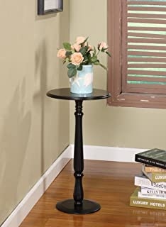 King's Brand Plant Stand Accent Side End Table, Black Finish