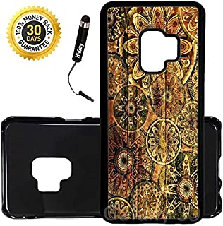 Custom Galaxy S9 Case (Rustic Floral Pattern on Wood) Edge-to-Edge Plastic Black Cover Ultra Slim | Lightweight | Includes Stylus Pen by Innosub