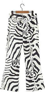 Otoño Vintage Estampado de Cebra Pantalones Traje de Mujer con un Solo botón de Oficina Chaqueta Chaqueta Abrigo + Pantalo...