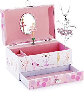 RR ROUND RICH DESIGN Kids Musical Jewelry Box for Girls with Drawer and Jewelry Set with Lovely Gymnastics Girl Theme - Beautiful Dream Tune Pink