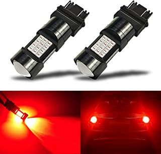 iBrightstar Newest Extremely Bright 36-SMD 3030 Chipsets 3156 3157 3056 3057 LED Bulbs with Projector Lens Replacement for Tail Brake Lights, Brilliant Red