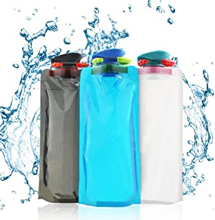 comprar comparacion BESTZY Bolsa de Agua,700 ML Bolsa de Agua Reutilizable Plegable Botella,Botella de Agua Plegable para Senderismo,Aventuras...