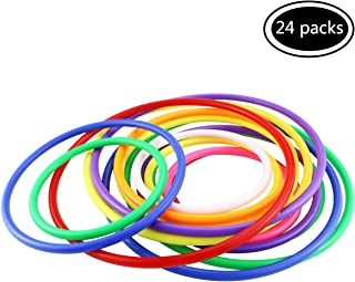 Faxco 24 Pcs Plastic Toss Rings Set(3 Sizes),Multicolor Ring Toss Game Set for Indoor Outdoor Speed and Agility Practice Training Games