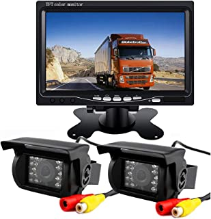 Vehicle Backup Camera System,2 x Night Vision 18LED IR Car Rear View Mirror Camera Kit 12V/24V + 7 inch Car LCD Monitor with 10m Video Cable For RV Truck Trailer Bus Camper