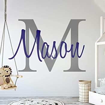 """Custom Name & Initial - Premium Series - Baby Boy - Wall Decal Nursery for Home Bedroom Children (M511) (Wide 30"""" x 20"""" Height)"""