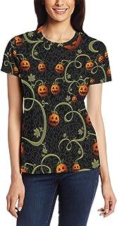 XiangHeFu T Shirt voor vrouwen meisjes Halloween pompoen boom aangepaste korte mouw