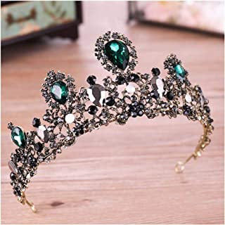 Yfe Wedding Tiara Green Crystal Crown for Women and Girls Queen Crowns and Tiaras Baroque Crown Gold (Style1)