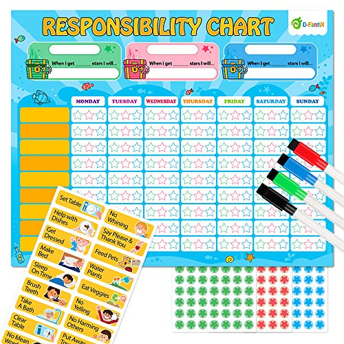 D-FantiX Magnetic Responsibility Chart  Chore Chart for Multiple Kids  My Star Reward Chart Daily Routine Good Behavior Charts Dry Erasable for Toddlers at Home