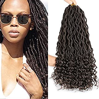 Xtrend 6 Packs 18 inch 24Roots Godness Faux Locs Crochet Braids Hair with Curly Ends,Wavy Synthetic Fiber Braiding Hair Extensions(#4 Color)