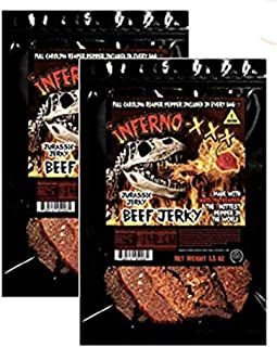 JURASSIC JERKY'S INFERNO -XXX Carolina Reaper Beef Jerky 1.5 oz- 2 pk Made with the the HOTTEST PEPPER in the WORLD!! Seasoned with a special blend of Real Carolina Reaper Peppers Sweet with Heat!
