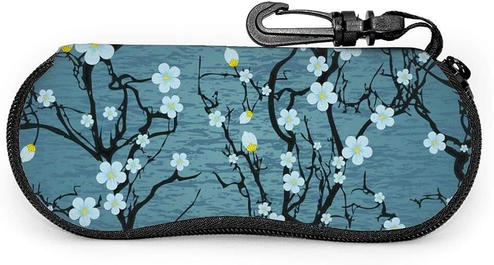 Tree Japanese Cherry Blossom Sunglasses Soft Case Ultra Light Neoprene Zipper Eyeglass Case With Belt Clip