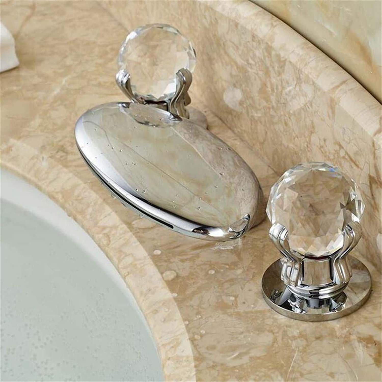 Faucets Basin Mixer Double Handles Crystal Deck Mounted Taps Chrome Finish