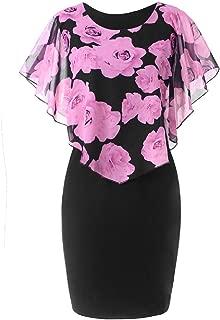 FAPIZI Women Summer Casual Plus Size Rose Print Chiffon O-Neck Ruffles Bodycon Mini Dress