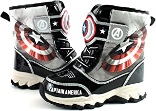 Avengers Captain America Boys Light Up Winter Black Snow Boots (Parallel Import/Generic Product)