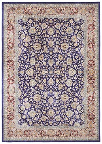 Elle Decor Design Teppich orientalisch Keshan Maschad Wohnzimmerteppich (120 x 160 cm, 100% Polyester, Fußbodenheizung geeignet, robust, einfache Reinigung), Navy