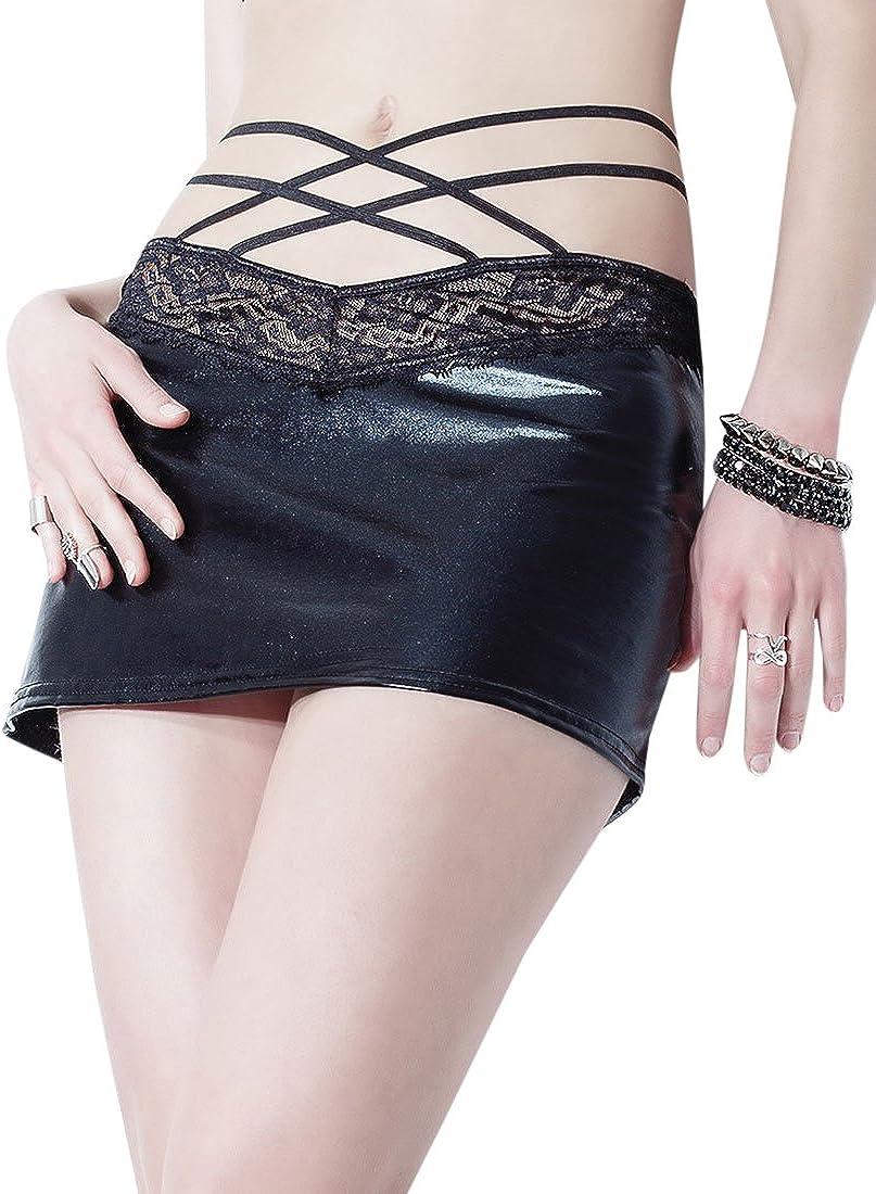 Coquette D9299 Women's Wet Look Strappy Skirt