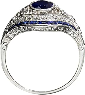 0183c706a0 bromrefulgenc Elegant Vintage Women Big Oval Faux Sapphire Hollow Carved  Eye Finger Ring Jewelry Gift -