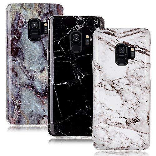 CLM-Tech kompatibel mit Samsung Galaxy S9 Hülle 3X, TPU Gummi Case Silikonhülle 3er Set, Marmor Muster schwarz weiß Mehrfarbig