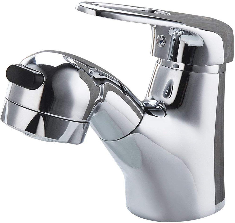 Willsego Wasserhahn Alle Kupfer Pull-Out Wasserhahn Waschbecken, kalte heie Becken Wasserhahn Dusche Wassersule, Doppelauslass Keramik Disc Spool. (Farbe   -, Gre   -)