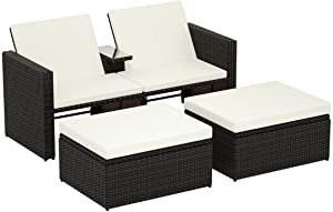 3PCS Patio Rattan Wicker Chaise Lounge Chair Set Cushioned Storage Ottoman