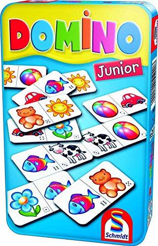 Schmidt Spiele 10V60504474V10 51240 Domino Junior, Bring Mich mit Spiel in der Metalldose, meerkleurig