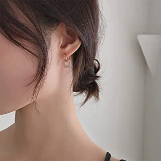 YERTTER Dainty 925 Iced Out Earrings Geometry Ear Studs Ear Jewelry for Party Prom Dating Women Girl (Silver)