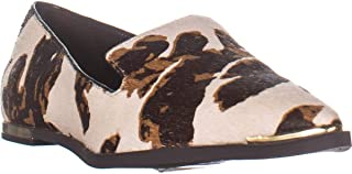 DKNY Lona Pointed Toe Flat Loafers, White Brown Cow Print
