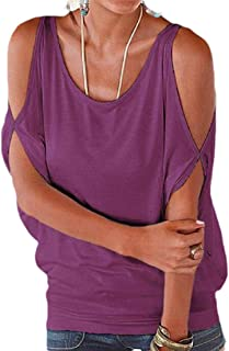 Frieed Womens Round Neck Short Sleeve Loose Fit Cold Shoulder Blouse T-Shirt Tops