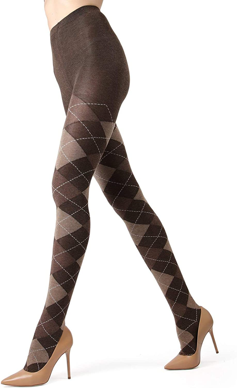 MeMoi Women's Textured Argyle Sweater Tights MO-391 S/M Brown Heather