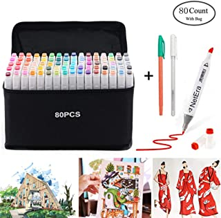 NetEra Dual Tip Brush Marker Pens Alcohol Based Artist Markers 80/40 Colors Set for Kids Adult Drawing, Painting, Coloring, Manga, Sketching, Highlighting and Underlining
