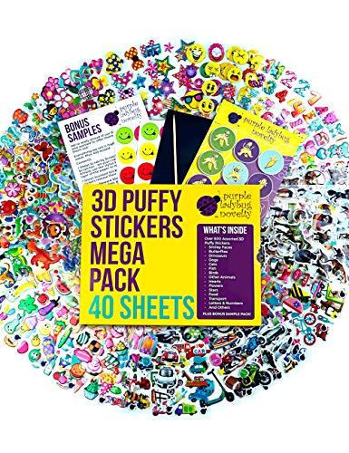 Purple Ladybug Novelty 40 Verschiedene Stickerbögen für Kinder & Babys, Sticker für Mädchen, Jungen und Babys, mehr als 950 3D Sticker: Tiere, Smileys, Autos, Buchstaben, Sterne und mehr