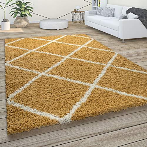 Paco Home Morbido Tappeto a Pelo Lungo Shaggy per Soggiorno in Stile scandinavo con Motivo a Rombi, Dimensione:80x300 cm, Colore:Giallo