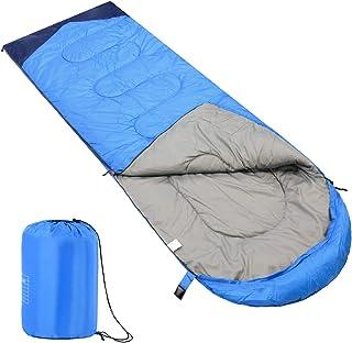 AKOZLIN 睡袋 寝袋 210T防水 シュラフ 封筒型 保温 収納袋付き 春夏秋の使用可能 快適温度 スリーピングバッグ 1.35kg 軽量 コンパクト アウトドア キャンプ 登山 車中泊 防災用 丸洗い可能 210×75cm