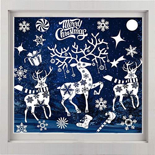 ShaSha Pegatinas Navidad para Ventanas Calcomanías Navidad Decoración de Decal Adorno Ventana Reutilizable Pegatinas Estáticas Copo de Nieve, para Puertas escaparates frentes de Vidrio (A57)