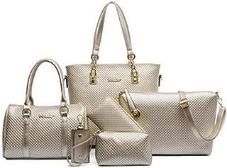 6pcs/set fashion women composite bags PU leather diamond lattice print women shoulder bag