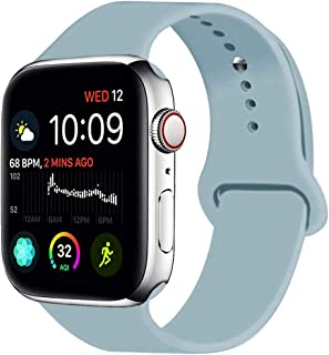 MOOLLY for Watch Band 38mm 40mm, Soft Silicone Watch Strap Replacement Sport Band Compatible with Watch Band Series 5 Series 4 Series 3 Series 2 Series 1 Sport & Edition (Azure Bule, 40mm(38mm) S/M)
