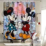 Mickey und Minnie Duschvorhang aus Stoff, robust, wasserdicht, Anti-Mickey Maus & Donald Duck, Cartoon-Animation, 183 x 183 cm
