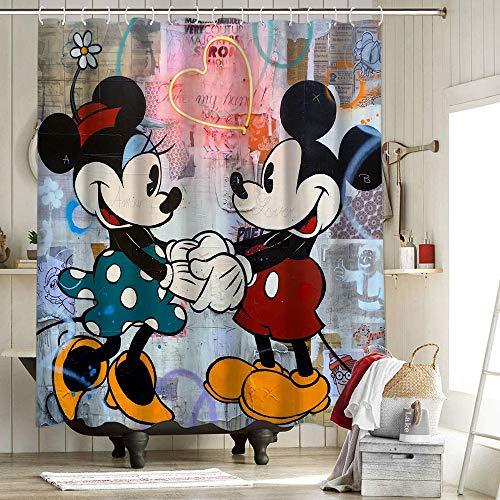 Cortina de ducha de tela Mickey & Minnie para decoración del hogar, cortina de ducha Mickey Mouse y Donald Duck animación de dibujos animados 177 x 200 cm